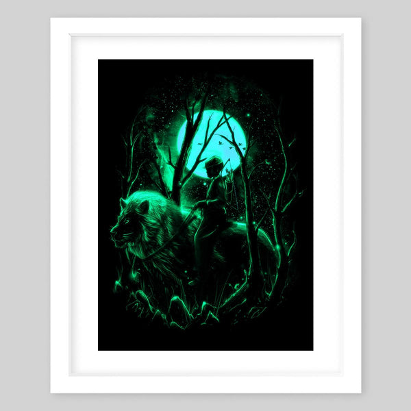 White framed art print of a man on a large lion in the middle of the dark woods carrying a bow and arrows, all with a glowing green color