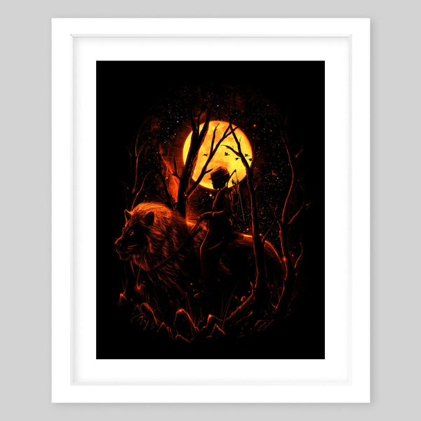White framed art print of a man on a large lion in the middle of the dark woods carrying a bow and arrows, the big yellow moon is seen in the background