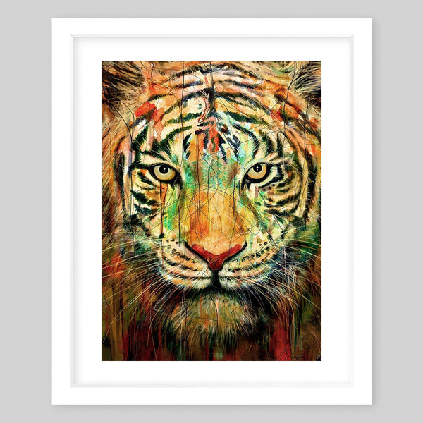 White framed art print of the face of a tiger with colorful streaks within its fur