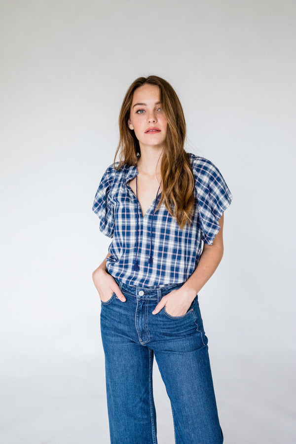 Brett S/S Bohemian Blouse NAVY PLAID