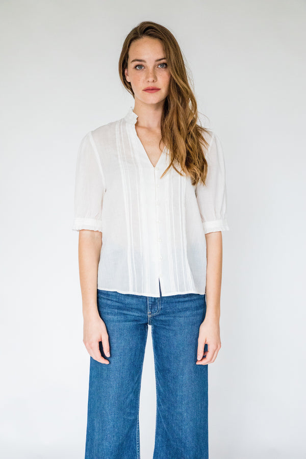 Elouise S/S Pintuck Shirt ANTIQUE WHITE