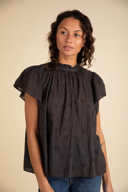Carla Highneck Shirt BLACK EMBROIDERY