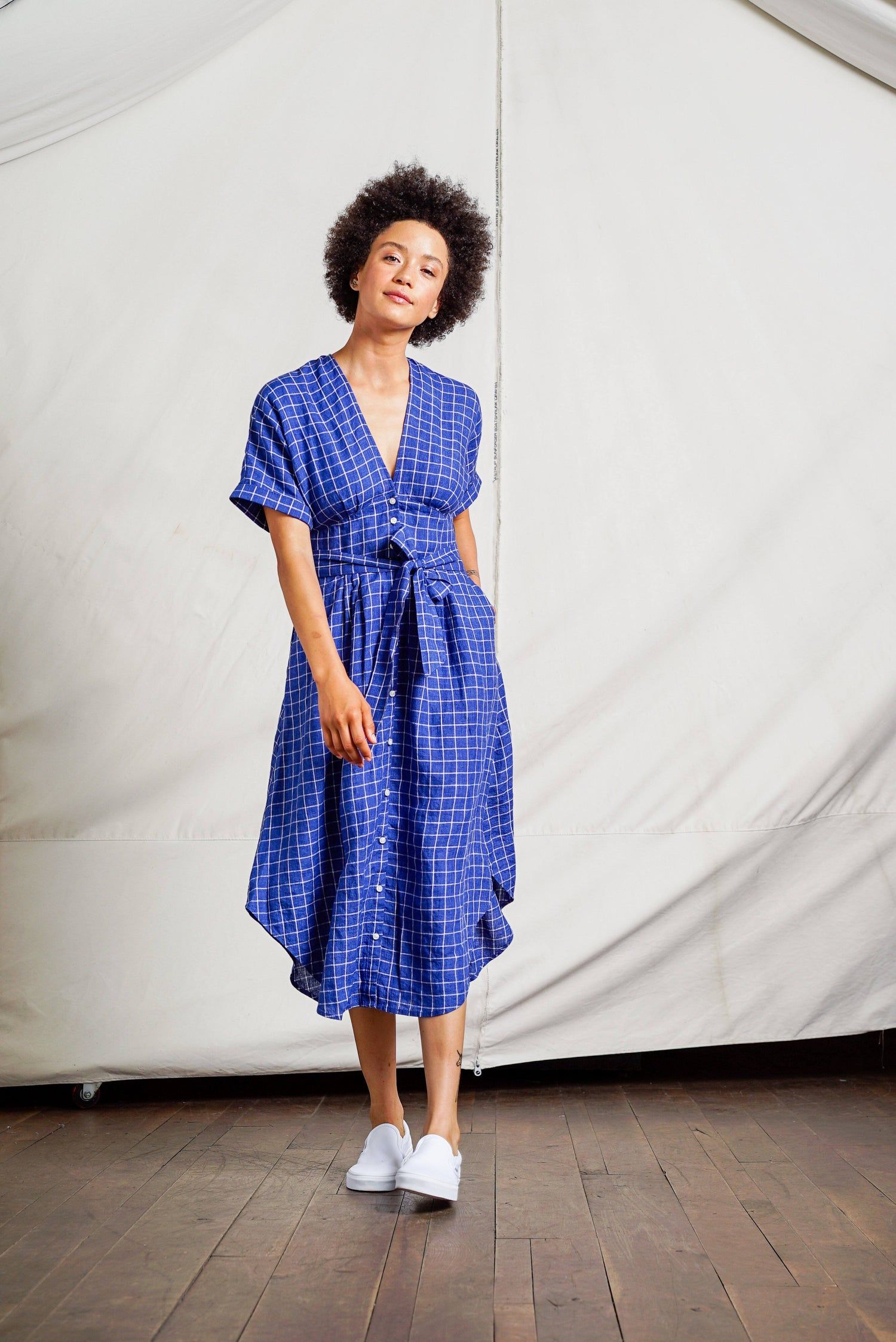 Meadow dolman sleeve dress NAVY WINDOWPANE