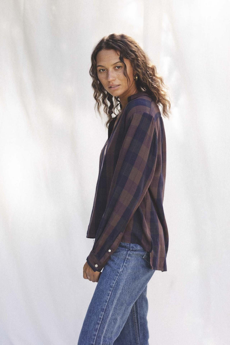 Cameron Oversize Henley TIMBER PLAID