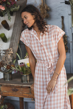 PS21-W0993-01 Astrid Easy Dress BLUSH CHECK