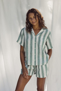 Margot S/S Camp Shirt GREEN AWNING STRIPE