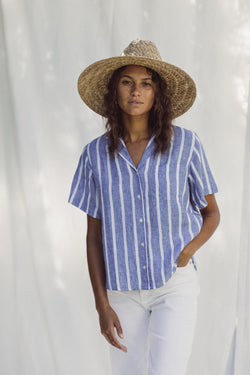 Margot S/S Camp Shirt BLUE AWNING STRIPE
