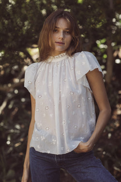 Carla Highneck Shirt WHITE EMBROIDERY