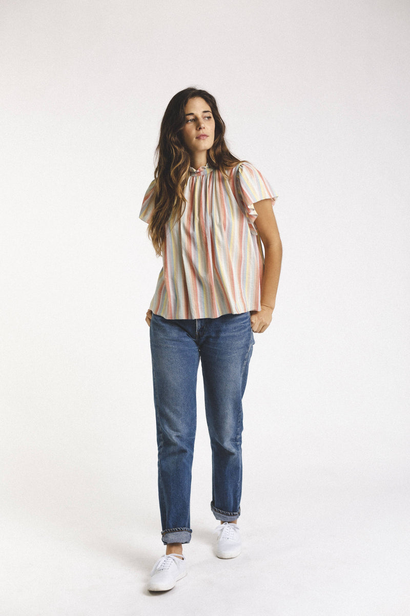Carla Highneck Shirt RAINBOW STRIPE