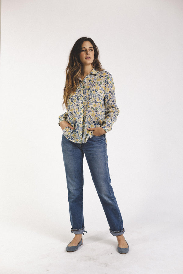 Eden Shirt BLUE/YELLOW FLORAL