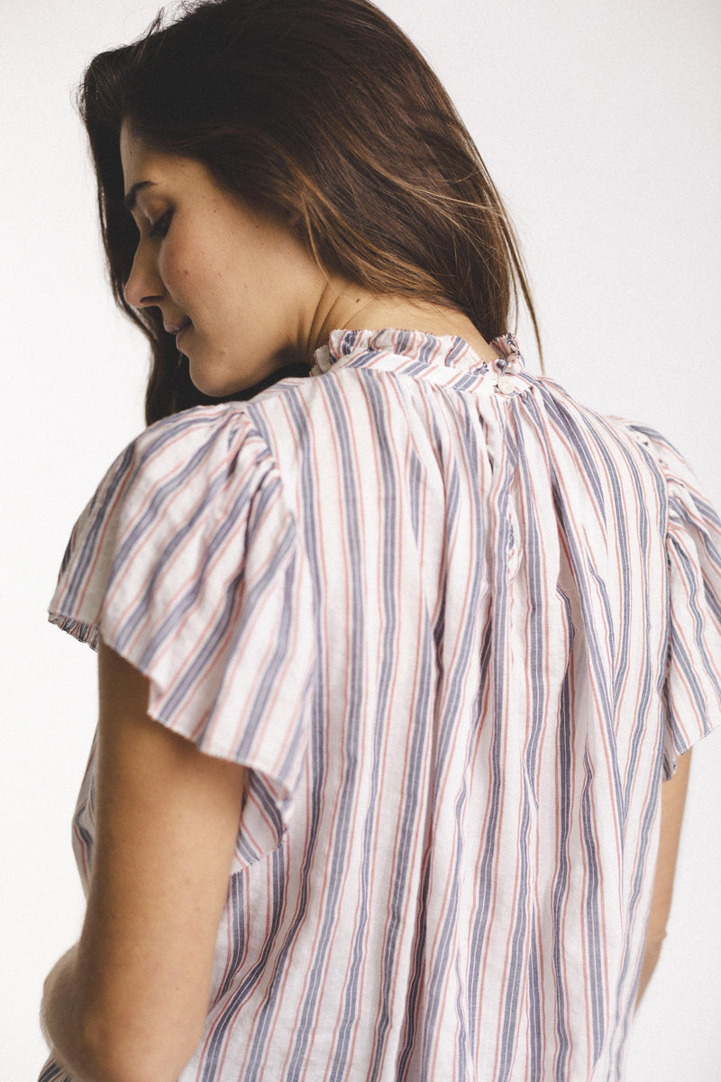 Carla Blouse WHT/RED/NVY STRIPE