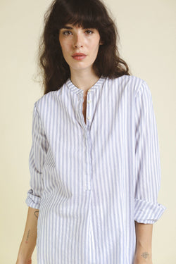 PS21-W0175-03 Tori Classic Henley Tunic WHITE/BLUE STRIPE