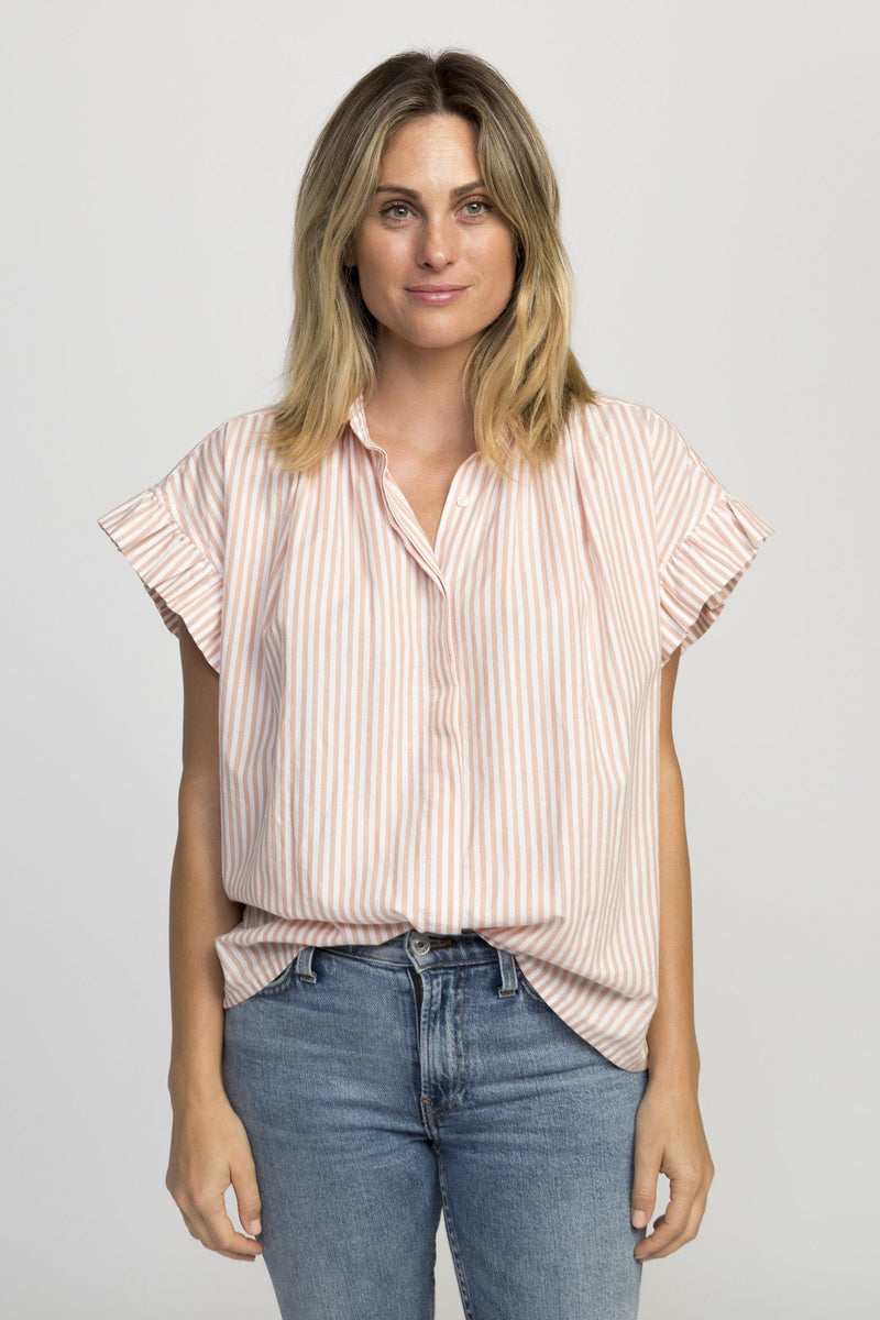 Marianne ruffle sleeve shirt BLUSH STRIPE