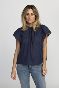 Carla highneck shirt NAVY