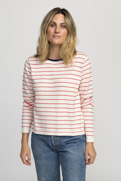 Saylor sweater ANT WHT W/RED STRIPE