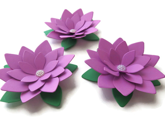 3 Orchid Purple Paper Lotus Paper Flowers - 4 Inch