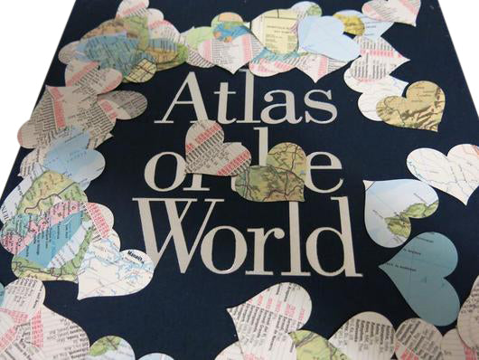 200 Vintage Atlas Map Hearts Confetti - Travel Theme