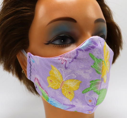Purple Butterfly Washable Cloth Face Mask Reusable Cotton Facial Travel Mask
