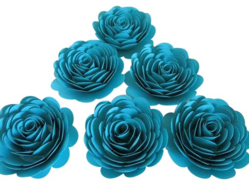 Dark Teal Blue Roses, Set of 6 Paper Flowers, 3 Inch Blossoms