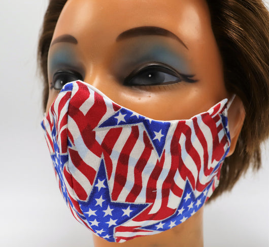 Patriotic American Flag 2 Layer Cloth Face Mask - 3 Sizes - Reusable Cotton Mask