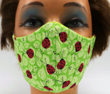 Green Ladybug 2 Layer Cloth Face Mask - 3 Sizes Washable Reusable Woman