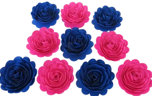 Hot Pink & Royal Blue Paper Flowers - 3 Inch Roses - Set of 10