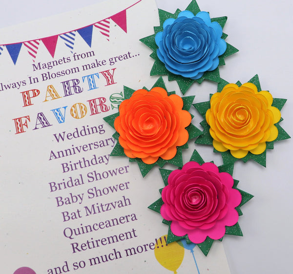 Spring Paper Flower Fridge Magnets - Wedding Party Favors