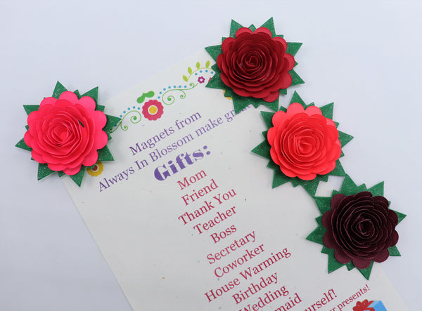 Red Rose Refrigerator Magnets Set of 4 Bridal Shower Party Favors
