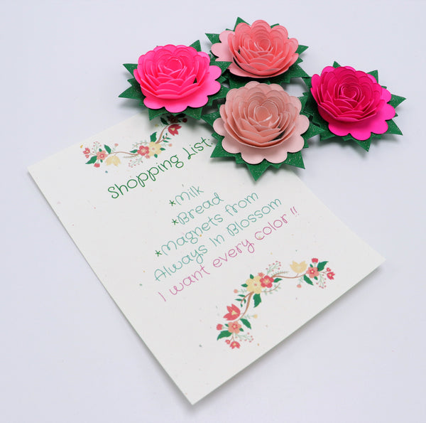Pink Rose Fridge Magnets - Set of 4 Paper Flower Party Favors
