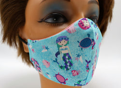 Mermaid Print Face Mask, Double Cotton Facial Covering, Adult Sizes, Washable and Reusable
