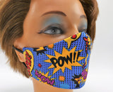 Comic Book Print Face Mask, Double Cotton Facial Covering, Adult Sizes, Washable and Reusable
