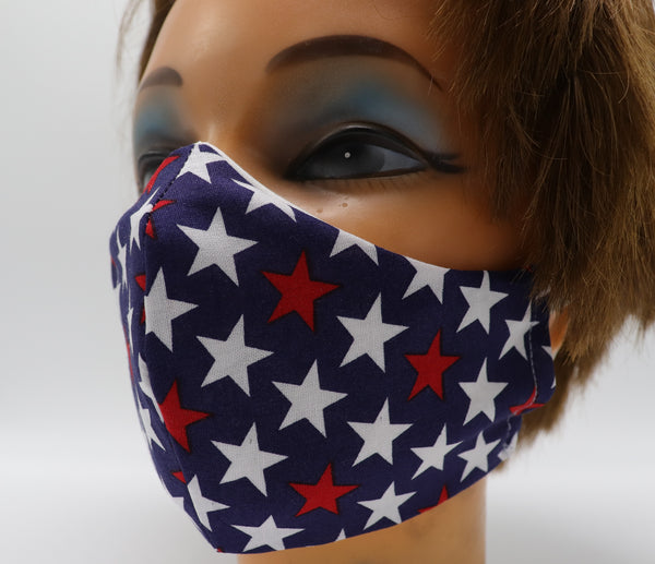 Patriotic Stars Print Face Mask, 3 Sizes, Double Layer Cotton Facial Covering, Washable and Reusable