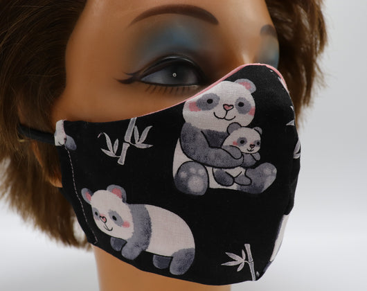 Panda Bear Print Face Mask, Double Cotton Facial Covering, 3 Sizes, Washable and Reusable