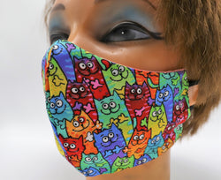 Colorful Cats Print Face Mask, 3 Sizes, Double Layer Cotton Facial Covering, Washable and Reusable