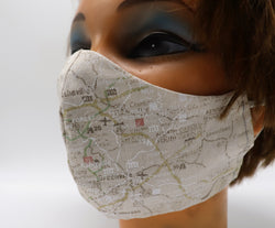 Road Map Print Face Mask, 3 Sizes, Travel Theme 2 Layer Cotton Facial Covering, Washable & Reusable