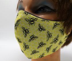 Honey Bee Print Face Mask, Double Cotton Facial Covering, Adult Sizes, Washable and Reusable