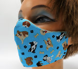 Dog Print Reusable Face Mask, 3 Sizes, Washable Double Layer Cotton Facial Covering