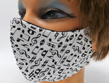 Music Note Cotton Face Mask, 2 Layer Facial Covering, Adult Sizes, Washable and Reusable