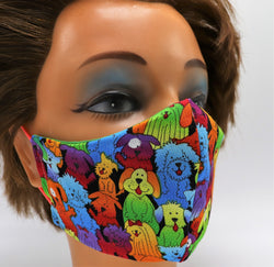 Colorful Dog Print Washable Cloth Face Mask, Reusable Cotton - 3 SIZES Unisex
