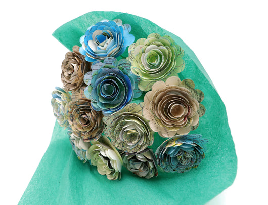 World Atlas Map Rose Bouquet, 1.5 Inch Paper Flowers on Stems - Travel