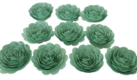Mint Party Decorations, Seafoam Green Roses, 3 Inch Paper Flowers Set of 10