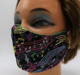 Colorful Music Notes Washable Cloth Face Mask, Reusable Cotton Facial Cover