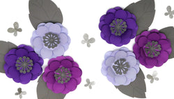 Purple and Grey Large Paper Flowers Birthday Party Backdrop