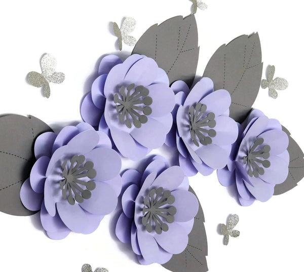 Purple Nursery Wall Flowers with Butterflies - 3D 8 Inch Paper Rose
