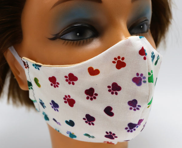 Dog Cat Paw Print Washable Cloth Face Mask, Reusable Cotton Facial Cover
