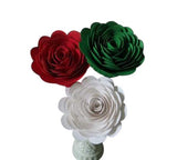 Pizzeria Table Centerpiece, Roses on Stems, Red White Green Paper Flowers