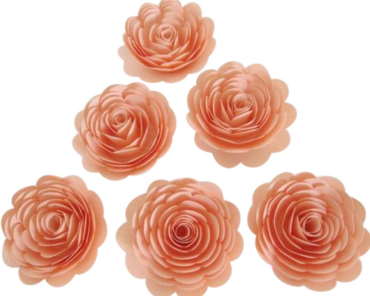 Pretty Peach Roses, Set of 6, 3 Inch Paper Flowers