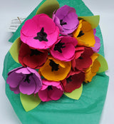 Spring Tulip Bouquet - Paper Flowers with Leaves - One Dozen - Wedding Floral