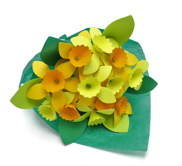 Paper Daffodil Bouquet, One Dozen Wrapped in Tissue Paper, Flowers on Stems