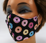 Doughnut Washable Cloth Face Mask, Reusable Cotton Facial Cover Donut